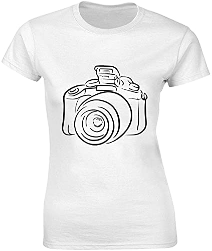 Vintage foto cámara de diseño lineal camiseta de mujer bnft