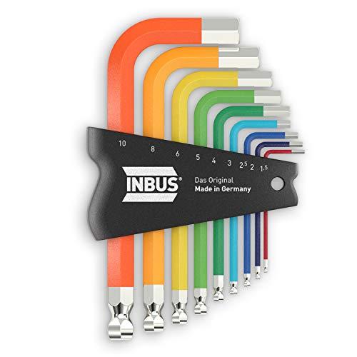 INBUS 79870 Set de llaves hexagonales 9pz, 1.5–10mm, con ColorGrip multicolor & Cabezal de Bola — Made in Germany