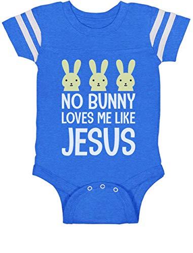 Tstars - No Bunny Loves Me Like Jesus Christian Easter Baby Jersey Bodysuit 12M Blue