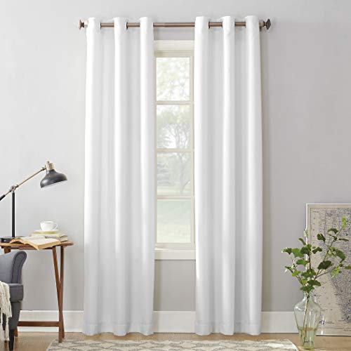 "No. 918 Montego Casual Textured Grommet Curtain Panel, 48"" x 84"", White"