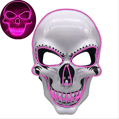 PMWLKJ Máscara Led Brillante Fiesta de Halloween Máscara de Miedo Máscara Divertida Accesorios de Disfraces de Cosplay 24x16.5cm Iluminación Rosada