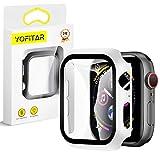 【2枚セット】YOFITAR Apple Watch 用ケース 42mm アップルウォッチ保護ケース ガラスフィルム 一体型 series3 series2 series1全面保護 超薄型 装着簡単 耐衝撃 高透過率 指紋防止 ホワイト