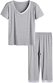 Image of A Customer Favorite: Short Sleeve Soft Bamboo Capri Pajamas for Women - In A Variety of Colors