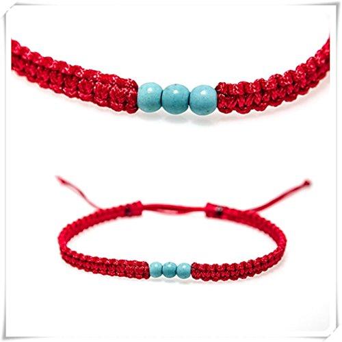 Pulsera de macramé de la cábala roja pequeña, pulsera de cuerda roja protegida con cuentas de turquesa natural de hilo rojo de la suerte,