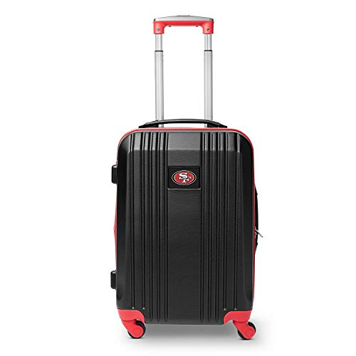 Find Bargain Denco NFL San Francisco 49ers Round-Tripper Two-Tone Hardcase Luggage Spinner (Renewed)