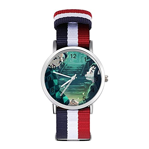 Kimetsu No YaibaTrenzado Reloj con Escala Moda Negocios Ajustable Banda de Impresión Color Banda Adecuado tanto para Hombres como Mujeres