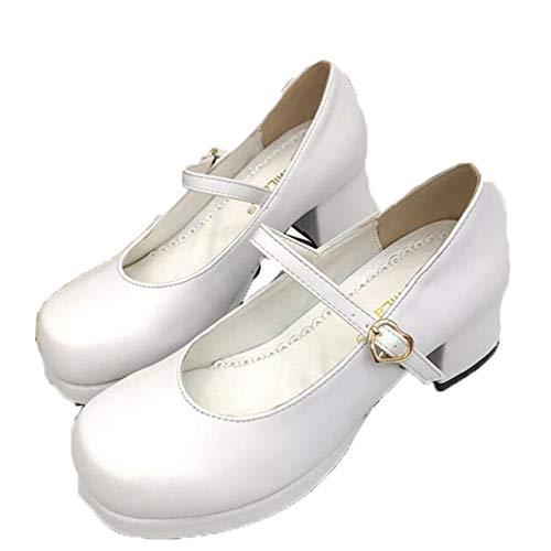 Mujeres Bombas Casual Hebilla Correa Tacón de Bloque Zapatos de Cuero Punta Redonda Boca Baja Primavera Otoño Zapatos Mary Jane