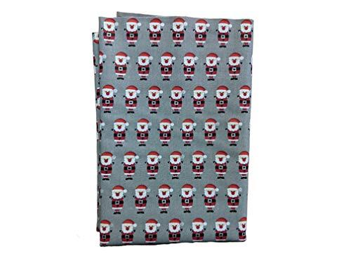 Popeline-Stoff, Weihnachtsmann, Meterware, 100 % Baumwolle, 143 cm breit, Grau