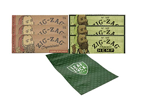 Zig Zag Unbleached 1 1/4 Rolling Paper (3 Packs), Zig Zag Organic Hemp 1 1/4 Rolling Papers (3 Packs), with Hippie Butler Smell Proof Pouch- 7 Item Bundle