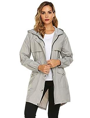 Avoogue Womens Rain Coat Waterproof Lightweight Rain Jacket Active Hooded Women's Trench Coats Grey