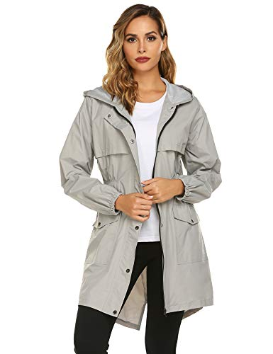 Avoogue Womens Rain Coat Waterproof Lightweight Rain Jacket Active Hooded Women's Trench Coats Grey
