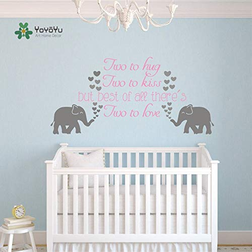 zhuziji Rock Music Wall Stickers Knight, Family Elephant Twin Love Elephant Kiss Yo Nordic Bedroom, Campus, Kindergarten with Vinyl Pvc57x112cm