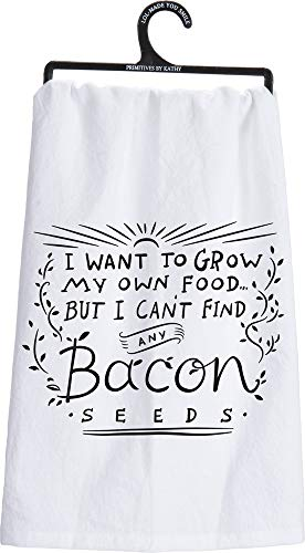Primitives by Kathy LOL Made You Smile Dish Towel, 28-inch by 28-inch, Bacon Seeds