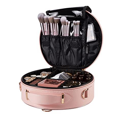 Neceser Maquillaje Bolsa de Maquillaje Cosméticos Beauty Case de Viaje Manicura Joyero Organizador Esmalte de Uñas Estuche Maquillaje para Mujer Viaje con Correa Profesional Cuero de PU, Rosa