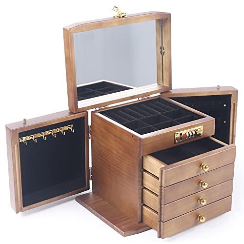 Futchoy Joyero de madera, 5 niveles, con 2 armarios plegables, espejo y 6 ganchos, 26 x 19 x 21,6 cm, color marrón