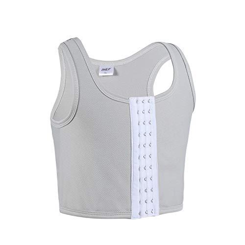 JARAZIN Tomboy Mesh Breathable Central Hook Clasp Chest Binder Lesbian Tank Top Vest (4XL, Grey)