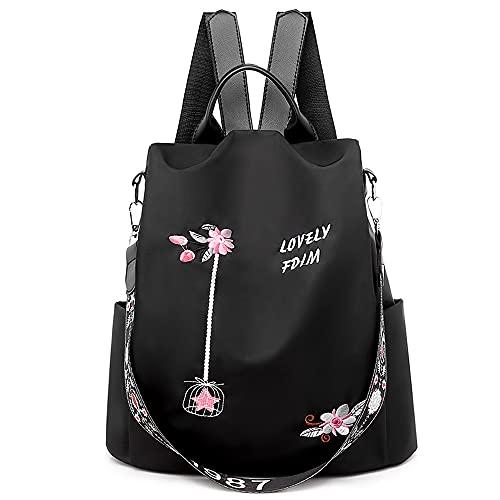 DORRISO Mochila de Mujer Lindo Nylon Bolso Anti-Robo Bolsa de Viaje Bolsa Gran Capacidad Ligera Vacaciones Bolsas de Hombro Backpack Mochila de Señoras Negro