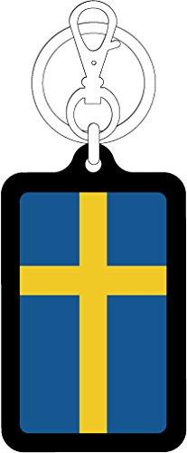 K-SK218 スウェーデン SWEDEN 100円国旗ステッカー キーホルダー (BLACK)