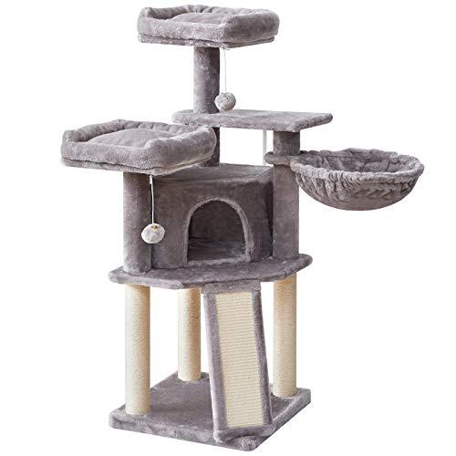 Árbol Torre de Gato rascador con Escalera de Sisal Bola de Campana, Altura 118cm Gris Claro