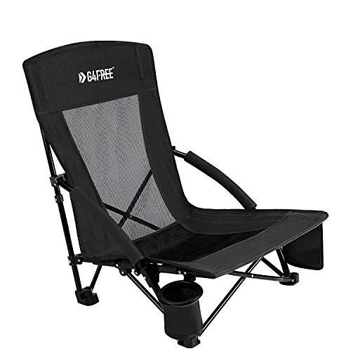 G4Free Low Sling Folding Beach Chair Camping Chairs Compact Concert Lumbar Back Support Festival Chair with Carry Bag(Black)