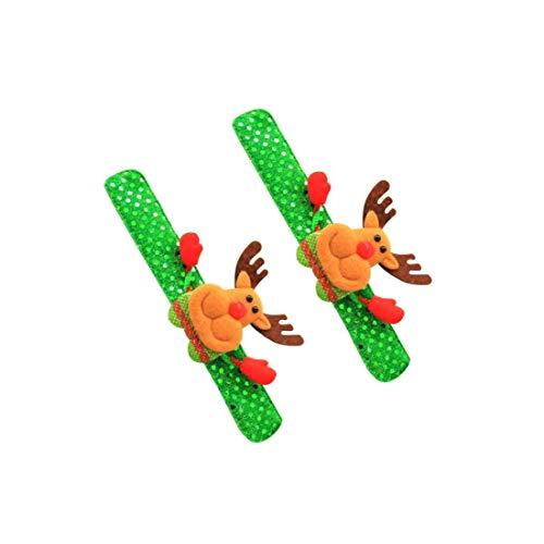 Yoyakie Regalos 2pcs Led Intermitente Banda para La Muñeca De Juguete Niños Niñas Flash Partido Navidad Decoración Glow Pulsera Luminosa Fiesta De Cumpleaños Suministros Juguetes -elk