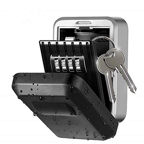 Kennwortschlüsselbox, Schlüsselschloss mit 4-stelliger Zahlenkombination Schloss Türschlüssel Schlossbox Wandmontage Wetterfest Selbsterholung Password Vorhängeschloss (mit wasserdichter Abdeckung)