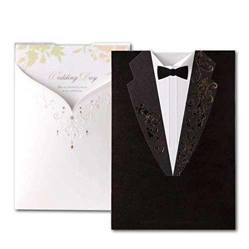 50X Wishmade Boda Invitaciones Tarjetas Kits Vestido De Noche Blanco y Negro...