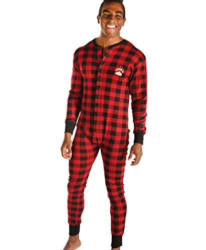 Plaid Bear Cheeks Flapjacks Adult Flapjack Onsie Pajamas by LazyOne | Adult Kid Infant Dog Family Matching Pajamas (Large)