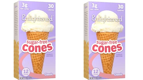 ENLIGHTENED ICE CREAM Sugar-Free Ice Cream Cones - Vegan Friendly, Sugar Free, Dairy Free - Low Calorie (30 Calories) - Low Carb (Net 3g) - 12pk (2-Pack)