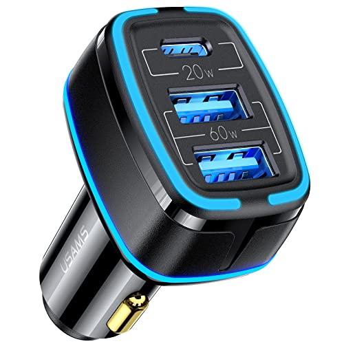 Cargador Coche,80W Cargador Coche Carga Rapida 4.5A 3 Puertos (USB C+ 2 USB A) PD 3.0 y QC 3.0 Cargador Movil Coche Cargador Coche Tipo C para iPhone 13 Pro 12 11 XR XS,Galaxy S20 Note 9,Huawei,Xiaomi