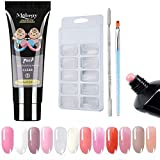 Poly Gel Nail Kit, Anself 1pcs 15ML Quick Building Gel & 100pcs Nail Tips & a Therapy Pen, a Double-end Pusher, a Transparent Clip Nail Art Extension Manicure Set for Beginner or Technician(Coffee)