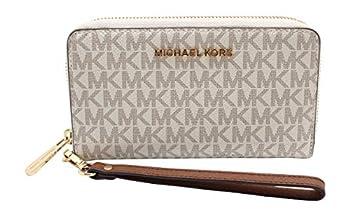 Michael Kors Jet Set Travel Large Flat Multifunction Phone Case Wristlet  Vanilla/Dark Acorn