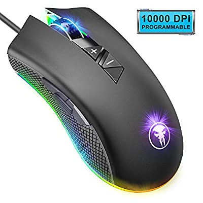 ANVASK Gaming Mouse Wired, 10000 DPI, 16.8 Million RGB Backlit, 8 Programmable Buttons, Comfortable Grip Ergonomic Optical PC Computer Gaming Mice with Fire Button Support Laptop, PC, Mac etc