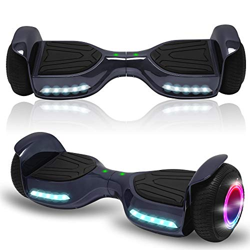 Beston Sports Newest Generation Electric Hoverboard Dual Motors Two Wheels Hoover Board Smart self Balancing Scooter with Built in Speaker LED Lights for Adults Kids Gift (-New Chrome Black)