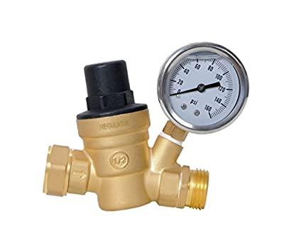 Water Pressure Regulator. Brass Lead-free Adjustable Water Pressure Reducer with Gauge for RV, and Inlet Screened Filter from RegulatUS