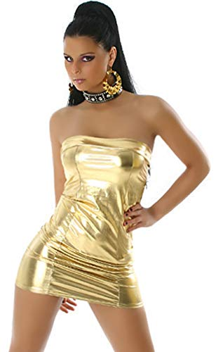 Jela London Wetlook Minikleid GoGo Kleid Bandeau Schlauch Etui Lack-Optik Leder-Look Glanz Einheitsgröße 34 36 38 Gold