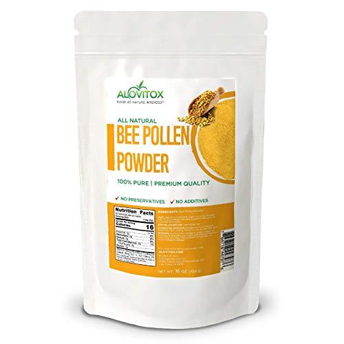ALOVITOX Bee Pollen Powder | 100% Pure, Natural Raw Bee Pollen - Gluten Free, Non GMO | 16 oz