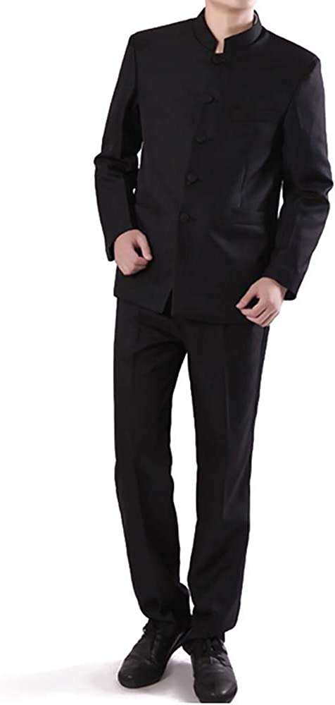 Frank Men's Suit Chinese Style Stand Collar Slim Fit Suit