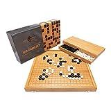 Ishin-Denshin Juego de Mesa Go – Juegos de Mesa Familiares de Estrategia – Juego de Mesa Tradicional 19x19 Hecho de Bambú – Juegos de Mesa de Adultos con Manual