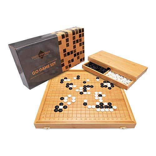 Ishin-Denshin Go Gioco da Tavolo – Il Gioco da Tavolo di Strategia Tradizionale Cinese – Board Game con Scacchiera 19x19 in Legno di Bambù Sostenibile e Manuale di Istruzioni