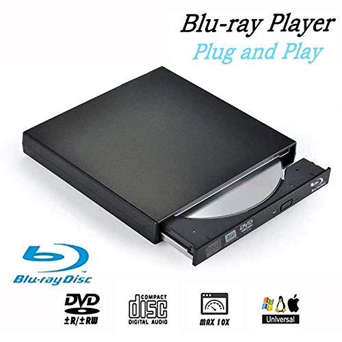Blu-Ray Drive DVD Drive USB External Portable DVD Burner BD-ROM DVD/CD-RW/ROM Writer for Windows 2000/XP/Vista/Win 7/Win 8/Win 10 Notebook PC Desktop Computer,Plug and Play