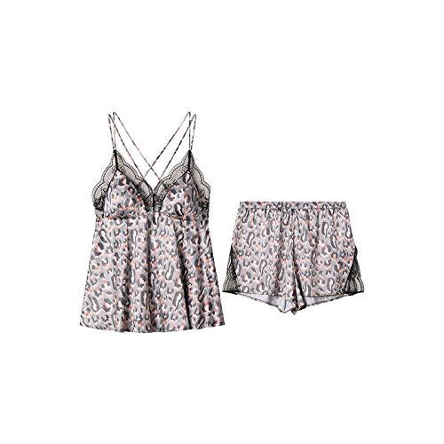 NOT Damen sexy Pyjama Damen sexy Nachthemd Sexy Pyjama-Shorts mit Leopardenmuster-Set für Damen-XL_Anzug FLW