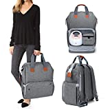 Luxja Breast Pump Bag with Compartments for Cooler Bag and Laptop, Breast Pump Backpack with 2 Options for Wearing (Fits Most Major Breast Pump, Suitable for Working Mothers), Gray