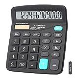 Calculators, BESTWYA 12-Digit Dual Power Handheld Desktop Calculator with Large LCD Display Big Sensitive Button (Black, Pack of 1)