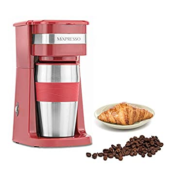 Ultimate 2-In-1 Single Cup Coffee Maker & 14oz Travel Mug Combo   Portable & Lightweight Personal Drip Coffee Brewer & Tumbler Advanced Auto Shut Off Function & Reusable Eco-Friendly Filter  Red