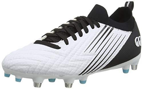 Canterbury Herren Speed 3.0 Pro Soft Ground Rugby-Schuhe, Weiß/Schwarz/Engelsblau, 43 EU