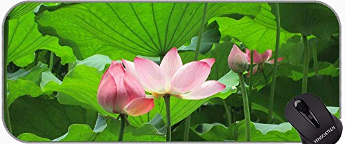 Flower Water Lyus Lotus XXL Juego extendido Mouse Pad, Lotus Professional Mousepad, Bordes cosidos