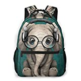 NiYoung School Daypack Backpack, Large Capacity Rucksack for Camping Picnic Bicycle, Cute Elephant with Earphone Camping Outdoor Backpack for Women Men, Back to School Gift