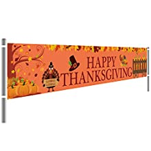 "HAPPY THANKSGIVING BANNER -- Wish your loved ones and friends a Happy Thanksgiving with this ""happy thanksgiving"" banner. An excellent banner will bring the real fun and unforgettable memory at you Thanksgiving party. Perfect for any Thanksgiving the..."