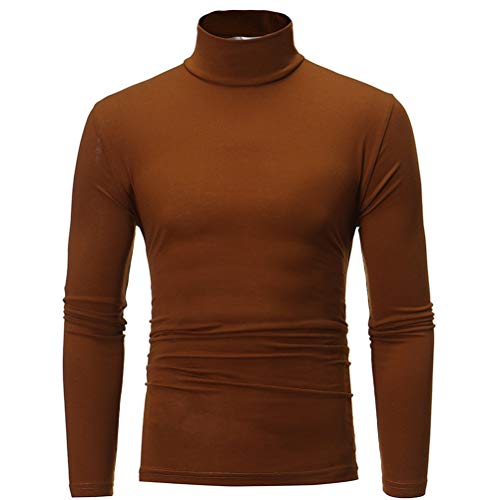 Glücklicher Käufer Rollkragenpullover Herren Hohe Qualität Slim fit Elastizität Eng Pullover (Y-Kaffee, 3XL)